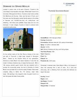 Domaine du Grand Moulin Touraine Sauvignon Blanc 2014