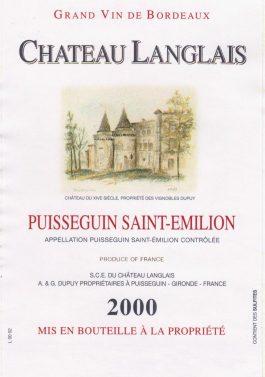 Château Langlais Puisseguin Saint-Émilion 2000 MAGNUM