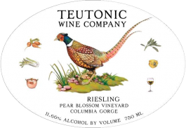 Teutonic Riesling Pear Blossom Vineyard Columbia Gorge AVA