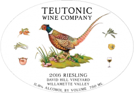 Teutonic Riesling David Hill Vineyard Willamette Valley