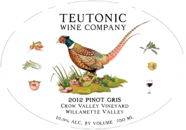 Teutonic Pinot Gris Crow Valley Vineyard Willamette Valley 2014