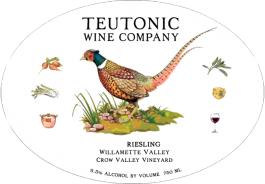 Teutonic Riesling Crow Valley Vineyard Willamette Valley 2014