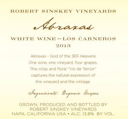 Robert Sinskey Abraxas 2013