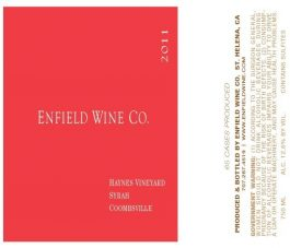 Enfield Wine Syrah Haynes Vineyard Napa Valley 2013