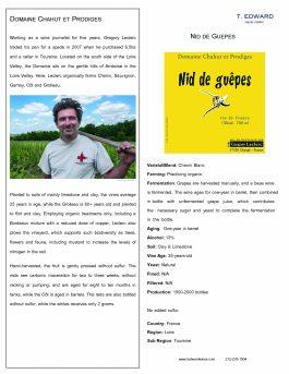 Chahut et Prodiges Nid de Guepes Petillant Naturel 2014